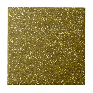 Trendy Gold Glitter Small Square Tile
