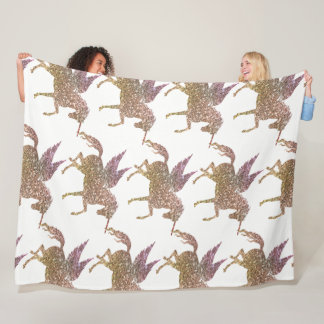 Trendy Gold Glitter Sparkle Unicorn Pegasus Horse Fleece Blanket