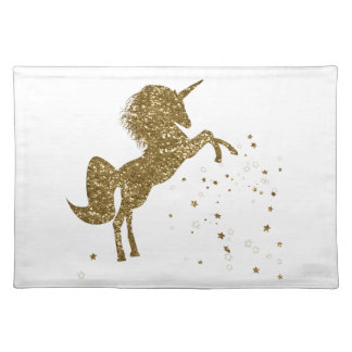 Trendy Gold Glitter Sparkle Unicorn & Stars Placemat