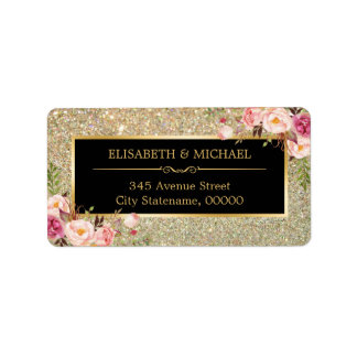 Trendy Gold Glitter Sparkles Girly Floral Address Label