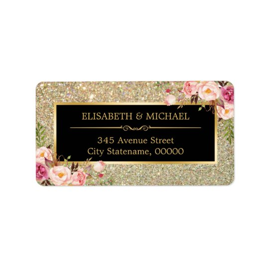 Trendy Gold Glitter Sparkles Girly Floral Label