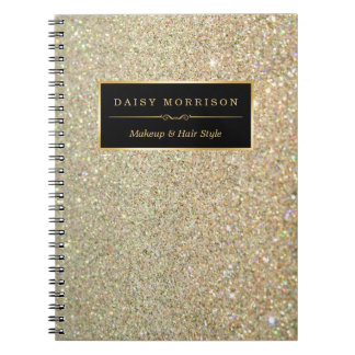 Trendy Gold Glitter Sparkles Makeup Beauty Salon Note Books