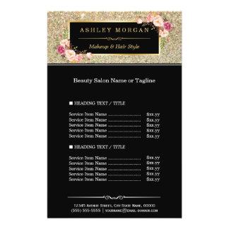 Trendy Gold Glitter Sparkling Girly Floral 14 Cm X 21.5 Cm Flyer