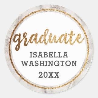 Trendy Gold Glitter & White Marble Graduate Classic Round Sticker