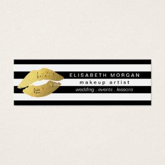 Trendy Gold Lips Black White Stripes Makeup Artist Mini Business Card