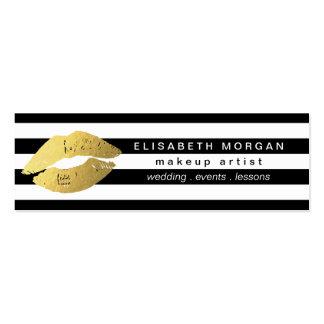Trendy Gold Lips Black White Stripes Makeup Artist Pack Of Skinny Business Cards
