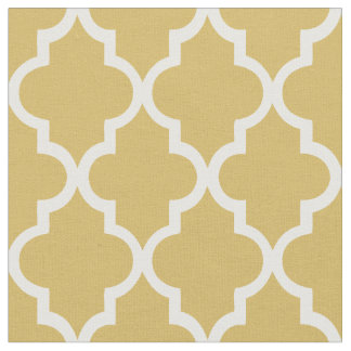 Trendy Gold Moroccan Quatrefoil Pattern Fabric