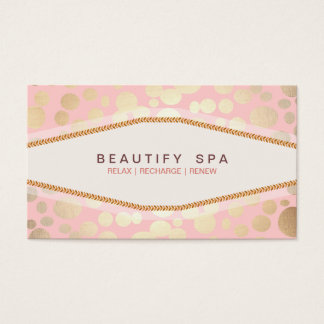Trendy Gold Pattern Pink Beauty Salon Business Card