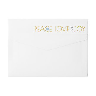 Trendy gold Peace, Love, Joy and dove Christmas Wrap Around Label