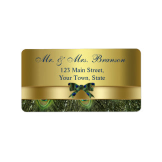 Trendy Gold Peacock Wedding Custom Monogram Label