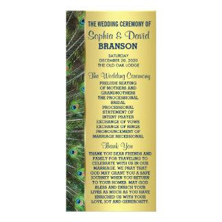 Trendy Gold Peacock Wedding Custom Program Rack Card