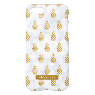 Trendy Gold Pineapples on White Marble iPhone 8/7 Case