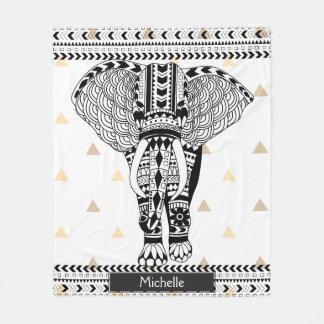 Trendy Gold Triangles Tribal Patterned Elephant Fleece Blanket