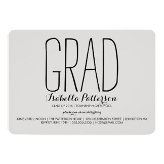 Trendy Grad Modern Gray Graduation Invitation