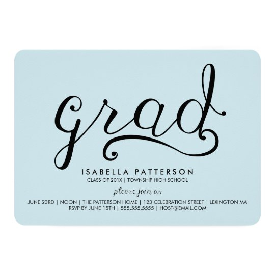 Trendy Grad Pastel Blue Graduation Invitation