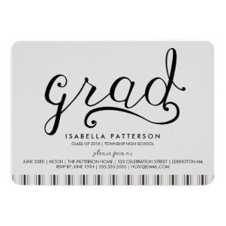 Trendy Grad Ticking Stripe Graduation Invitation