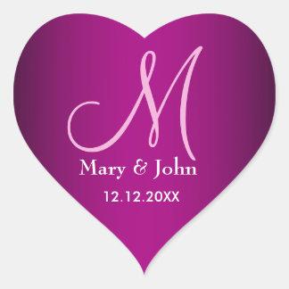 Trendy Gradient Hot Pink Wedding Monogram Seals Heart Sticker