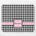Trendy Graphic Houndstooth with Custom Monogram Mouse Mat