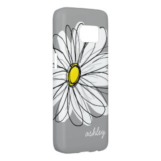 Trendy Gray and Yellow Daisy Drawing