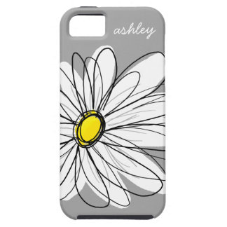 Trendy Gray and Yellow Daisy Drawing Tough iPhone 5 Case