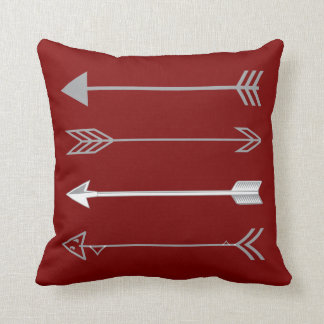 Trendy Gray Arrows on  Deep Dark Red Cushion