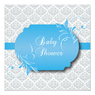 Trendy Gray Damask and Blue for a Baby Shower 13 Cm X 13 Cm Square Invitation Card