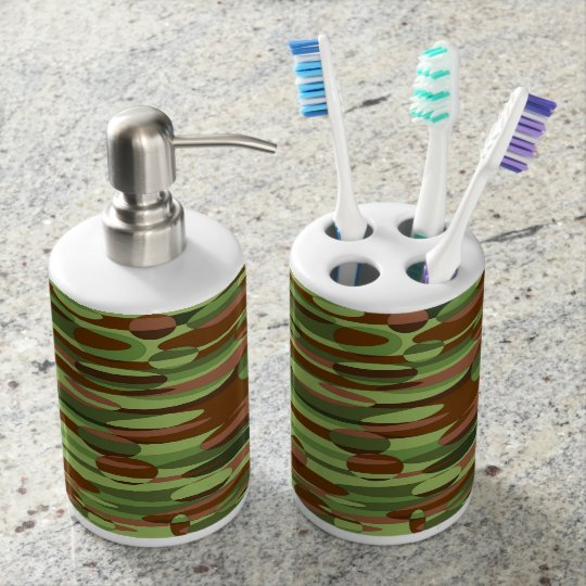 Trendy green and brown spheres bath set. soap dispenser and toothbrush holder
