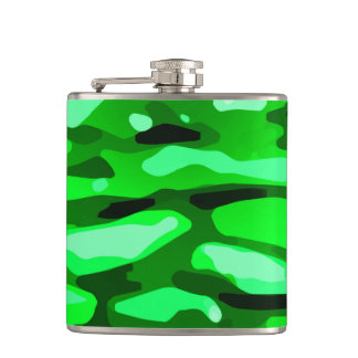 Trendy Green Camo Abstract Pattern Hip Flask