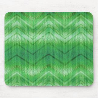 Trendy Green Chevron Zigzag Stripes Pattern Mouse Pads