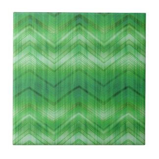 Trendy Green Chevron Zigzag Stripes Pattern Small Square Tile