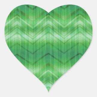 Trendy Green Girly Zigzag Stripes Pattern Heart Sticker