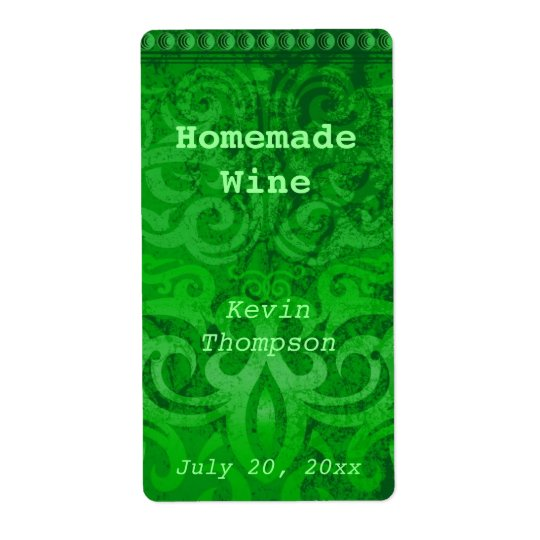 Trendy Green Homemade Wine Label Shipping Label