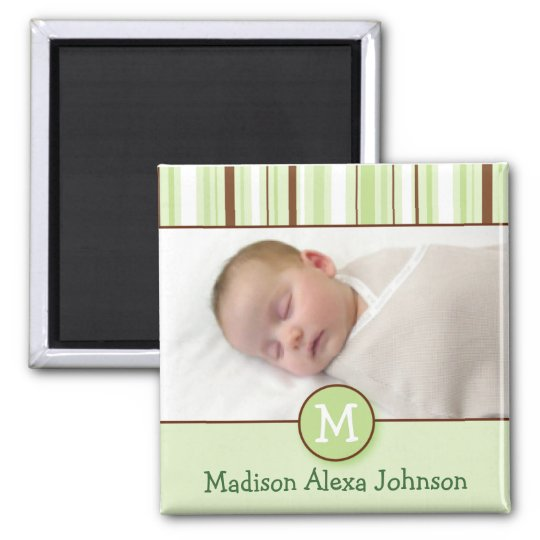 Trendy Green Stripes Baby Announcement Magnets