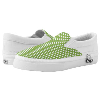 Trendy Greenery and White polka dots pattern Slip On Shoes