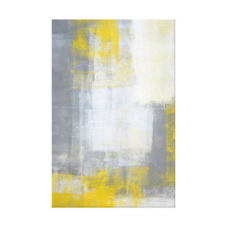 'Trendy' Grey and Yellow Abstract Art Canvas Print