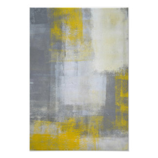 'Trendy' Grey and Yellow Abstract Art Poster