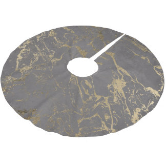Trendy Grey cement concrete gold marble pattern Brushed Polyester Tree Skirt