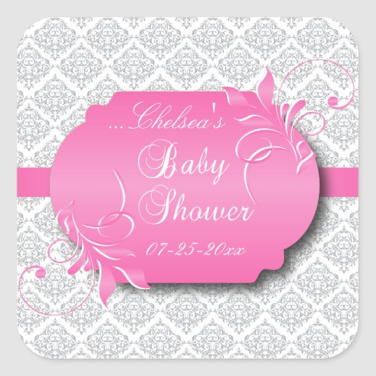 Trendy Grey Damask and Pink for a Baby Shower Square Sticker