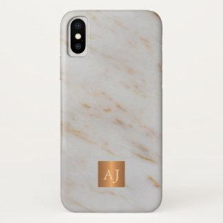 Trendy grey marble metallic copper monogrammed iPhone x case