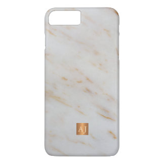 Trendy grey marble metallic copper square monogram iPhone 8 plus/7 plus case