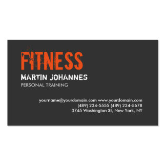 Trendy Grey Orange Personal Trainer Business Card