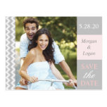 Trendy Grey + Pink Chevron Photo Save the Date Postcard