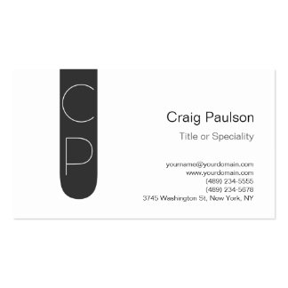 Trendy Grey Stripe White Monogram Business Card
