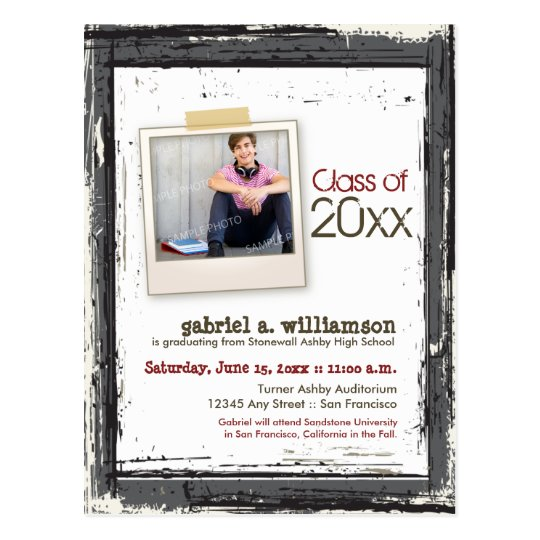 Trendy Grunge Graduation Announcement (slate) Postcard