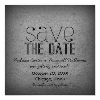 Trendy Grunge Save the Date Invite Gray
