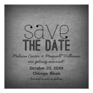 Trendy Grunge Save the Date Invite Gray