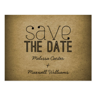 Trendy Grunge Save the Date Postcard, Mocha