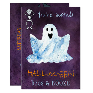 Trendy Halloween watercolor ghost boos booze party Card