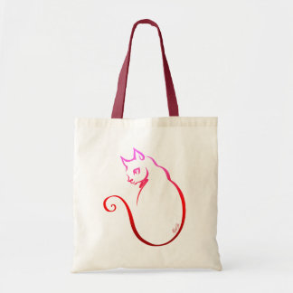 Trendy Hand Drawn 5 Lines Cat Tote Bag | Red