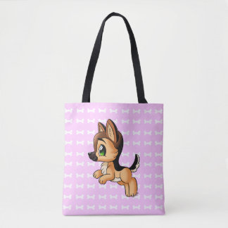 Trendy Hand Drawn Dog Pink Tote Bag | Both Sides